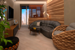 Проект-дизайн інтер'єру та 3d візуалізація вітальні в Трускавці