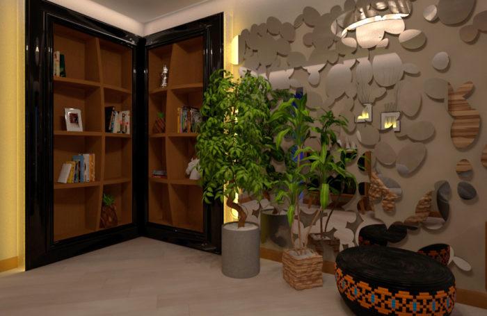 Проет-дизайн інтер'єру та 3d візуалізація вітальні в Трускавці