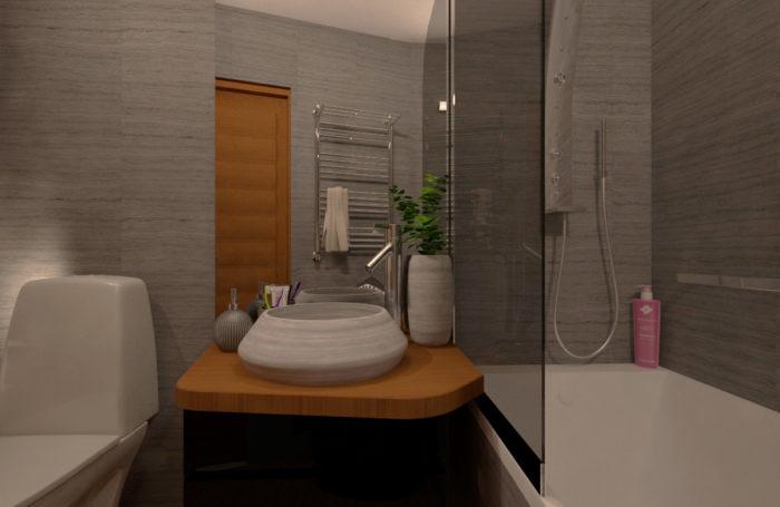 Проект-дизайн інтер'єру та 3d візуалізація ванної кімнати в Трускавці