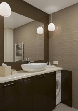дизайн ванної кімнати - пральна машинка схована під мийкою