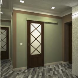 дизайн прихожої - розсувні двері в ванну кімнату